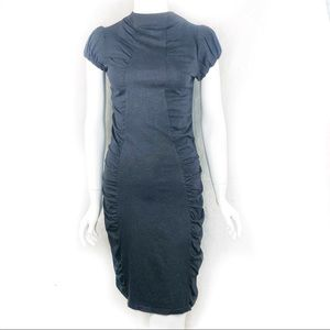 NEW-Josette Ruched Hi Neck Bell Cap Sleeves Dress